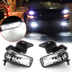 White LED Fog Light w/Bracket for Chevrolet Silverado 1500 2500 3500 1999-2002, LED Driving Fog Lamp Set Compatible with Chevrolet Suburban Tahoe 2000-2006, Clear Lens
