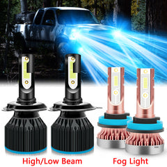 4pcs LED Headlight High Low Beam Fog Light Bulb 8000K Ice Blue for Toyota Tacoma 2012-2015