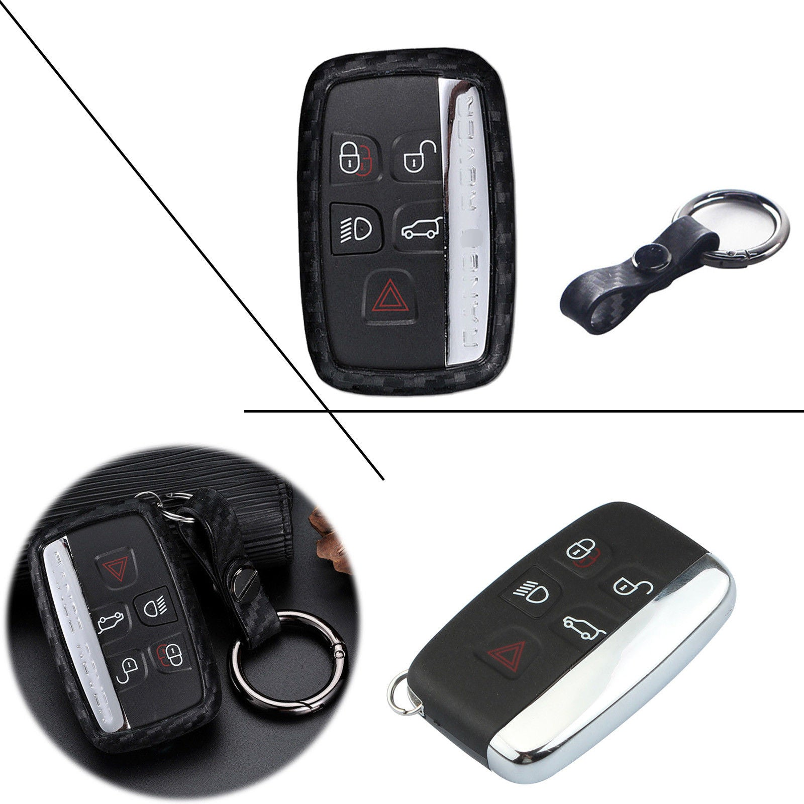 ontto Carbon Fiber Texture Key Fob Cover Case Shell Skin Holder Jacket Protector Fit for Jeep Grand Cherokee Renegade Smart Key 2 3 4 5 Button Black