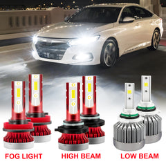 LED Headlight High Low Beam + Fog Light White for Honda Civic 2006-2015, Super Bright Full Headlight Kit Daytime Light Combo Set