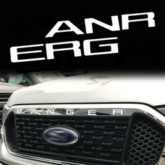 Glossy White Thin Vinyl Letter Insert Decal Sticker for Ford Ranger 2019 Front Grille Hood