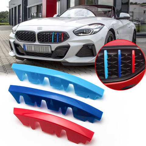 3pcs M-performance M-colored Grille Kidney Insert Trims Stripe Cover for BMW G29 Z4 2019-up (13 beam bars)