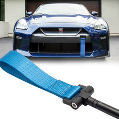 Blue / Black / Red JDM Style Tow Hole Adapter with Towing Strap for Nissan GT-R Infiniti Q50 Q60
