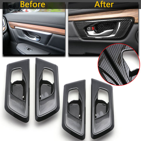 4pcs for Honda CRV CR-V 2017 2018 2019 Interior Door Handle Bowl Cover Trim, ABS Carbon Fiber Car Inner Door Handle Bowl Panel Frame Decor