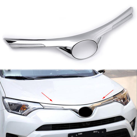 ABS Chrome Front Hood Grille Grill Molding Cover Trim for Toyota RAV4 2016-2018
