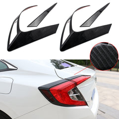 4x Sporty Racing Carbon Fiber Style / Styling ABS Chrome Rear Light Cover Trim for Honda Civic 2016-2019 Sedan Only
