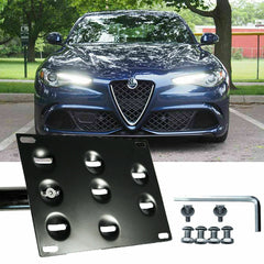 for Alfa Romeo Stelvio 2018 2019 Front Bumper Tow Hook License Plate - No Drill Black Mounting Bracket Adapter Kit