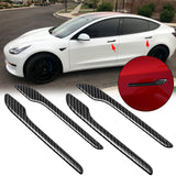 4pcs for Tesla Model 3 2017-up Side Door Push Handle Cover Trim, Sporty Carbon Fiber Car Exterior Door Handle Protector Cover Decoration