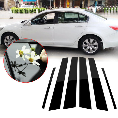 6pcs Glossy Black Exterior Window Pillar Posts Molding Overlay Pre-Cut Side Door Trim Piano Cover Trims For Honda Accord Sedan 2008 2009 2010 2011 2012