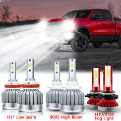 LED Headlight High Low Beam Fog Light Bulb Package Set for Dodge Ram 1500 2500 3500 4500 5500 2009-2018, Extremely Super Bright LED Headlight Fog Lamp White 6000K