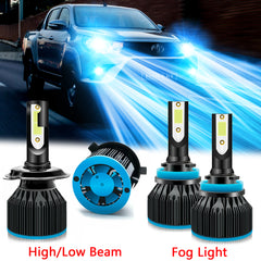 4pcs Ice Blue LED Headlight High Low Beam Fog Light Bulb Combo Kit 8000K for Toyota Tacoma 2012-2015