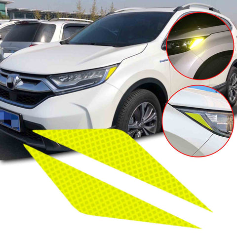 2pcs for Honda CR-V CRV 2017-2019 Yellow Headlight Eyebrow Eyelid Reflective Sticker Trim, Styling Headlamp Eye Lid Warning Safety Reflector Overlay Decal