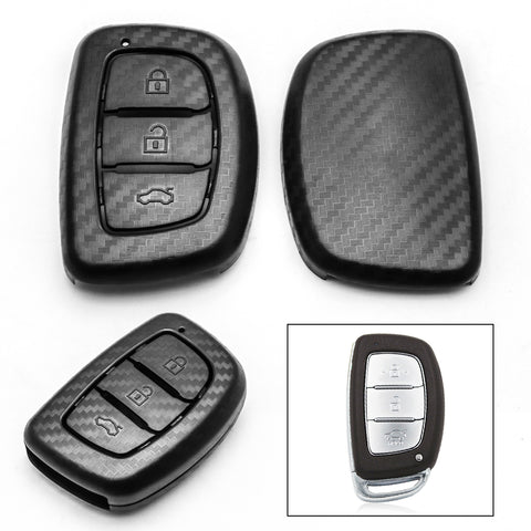 Matte Carbon Fiber Finish Full Sealed Key Fob Shell Case Protective Hard Cover for Hyundai Accent Santa Fe Elantra Tucson 3-Button Key