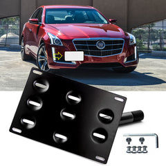 Set Black Sporty Racing Front Tow Hook License Plate Bumper Mounting Bracket Kit for Cadillac CTS CTS-V 2008-2013 - No Drill