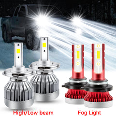 Xenon White LED Headlight High Low Beam Fog Light Upgrade Combo Kit for Toyota Tacoma 2005-2011