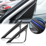 Carbon Fiber Style Car Door Front A Pillar Speaker Stereo Cover Frame Triangle Trim for Honda Accord 2018-2019