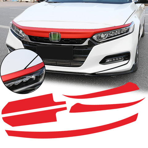 5pcs Red / Carbon Fiber Style Vinyl Front Hood Grille Grill Molding Trim Sticker Decal for Honda Accord 2018 2019