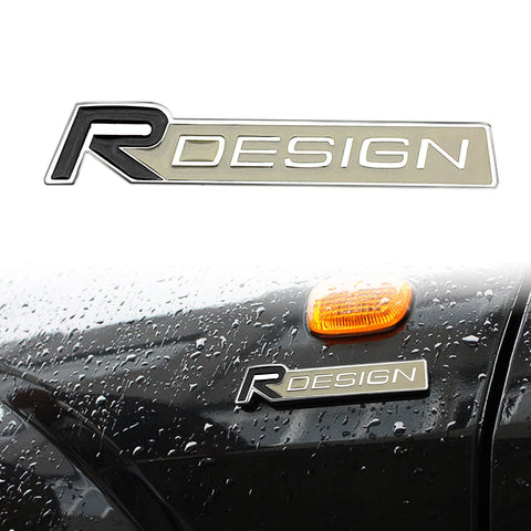 1x Metal R-Design Emblem Trunk Lid Side Fender Decal Badge for Volvo [Silver/Black]