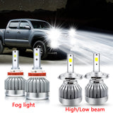 LED Headlight High Low Beam Fog Light Bulbs White 6000K for Toyota Tacoma 2012-2015, Extremely Super Bright LED Headlight Fog Lamp Combo Ki