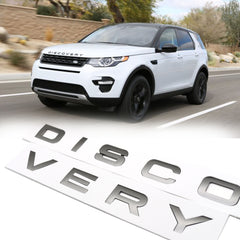 Xotic Tech DISCOVERY Letter ABS Emblem Badge Sticker for Land Rover Front Hood Rear Trunk  Titanium Grey