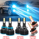6pcs for GMC Sierra 1500 2500 3500 2007-2014 LED Headlight Fog Parking Light Bulb Combo Kit 8000K Ice Blue Extremely Super Bright