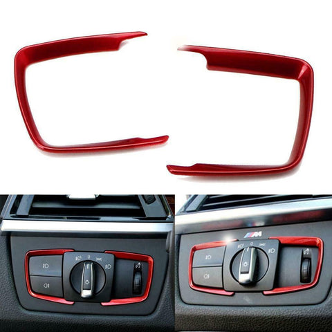 Front Headlight Switch Button Frame Cover Decor Trims for BMW 2 3 4 Series X5 X6 - Car Interior Decorative Sticker