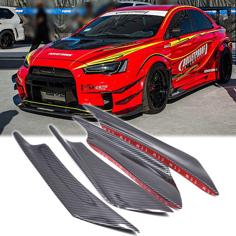 Bumper Guard Decoration - 4pcs Carbon Fiber Painted Bumper Canards Splitters Lip for Mitsubishi Lancer EVO X 10