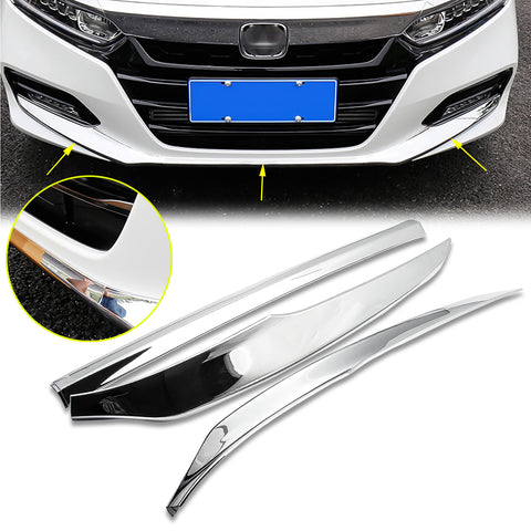 3pcs Chrome Front Bumper Lower Lip Cover Trim Guard for Honda Accord 2018-2019