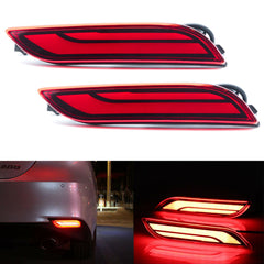 2pcs Rear Bumper Reflector LED Brake Tail Turn Signal Light for Toyota Camary 2018 2019, Red Lens