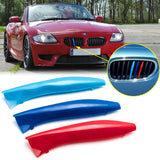 1 Set M-colored Kidney Grille Insert Trim TRI Color Sport Stripe Clip for BMW E85 E86 Z4 2002-2008 (9 Beam bars)