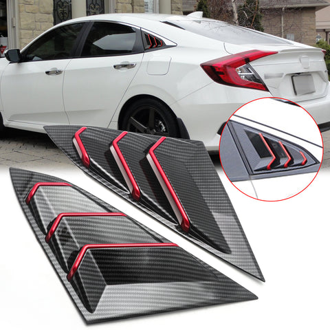 for Honda Civic 2016-2019 Side Window Scoop Louver Cover Trim, ABS Carbon Fiber Quarter Side Window Vent Louver Windshield Sun Shade Cover