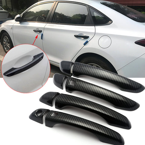 ABS Carbon Fiber Side Door Handle Cover Molding Trim for Hyundai Elantra 2017 2018 2019