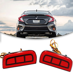 JDM Add-on LED Rear Bumper Reflector Lights for Honda Civic Sedan/Coupe 2016-2019, Function as Tail Brake Light Rear Fog Lamp