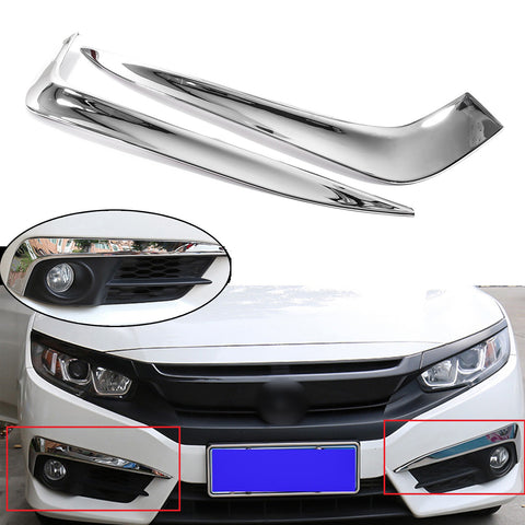 2x ABS Chrome Front Fog Light Eyelid Eyebrow Frame Cover Moulding Trim for Honda Civic 2016-2018