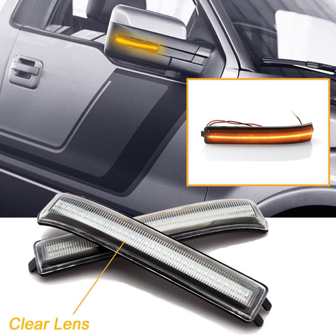 2x LED Clear Lens / Smoked Lens Side Mirror Marker Turn Signal Parking Light for Ford F-150 & Raptor 2009-2014 - Chrome Housing