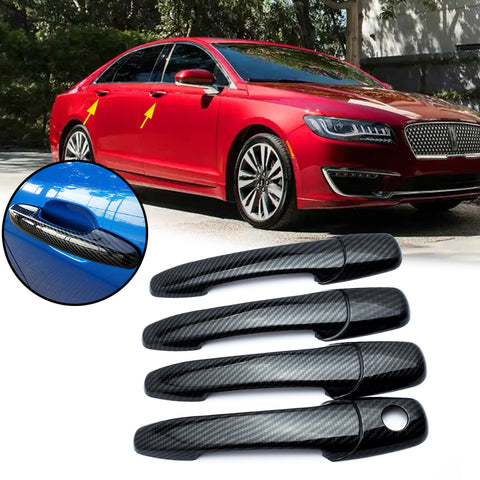 Carbon Fiber Pattern Car Door Handle Cover Trim Guard for Lincoln MKX MKZ 2007-2012