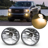 for GMC Sierra 2007-2014 Front Bumper Fog Driving Light Kit, Clear Lens Fog Lamp Assembly OEM Replacement