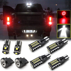 8pcs LED High Mount Cargo Light + Backup Reverse Light + License Plate Light + Brake light for RAM 1500 2500 3500 2007-2018, Extremely Super Bright White Red LED Tailgate Lamp Combo Package