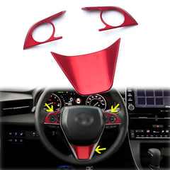 3pcs Red ABS Steering Wheel Frame Cover Trim for Toyota Camry 2018-up, Fit Toyota Corolla Hatchback 2019
