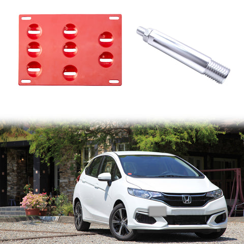 1 Set Black / Gold / Red Front Tow Hook License Plate Bumper Mounting Bracket for Honda 3rd Gen Fit Jazz 2015-2018, Fit Acura TLX 2015-2018