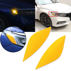 2pcs Yellow Headlight Eyebrow Eyelid Reflective Sticker Trim for Honda Accord 2018 2019, Styling Headlamp Eye Lid Warning Safety Reflector Overlay Decal