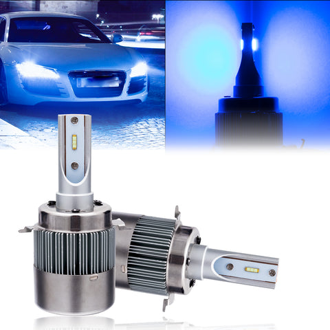 2x H7 LED Headlight Kit with Retainer Adapter Clip Holder, 6000K Xenon White / 8000K Ice Blue 8400LM High Low Beam Headlight Bulb Conversion Kit