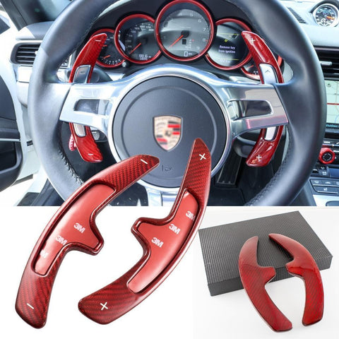 Carbon Fiber PDK Paddle Shifter Extensions For 2009-16 Porsche 911 Boxster Cayenne Panamera Black/ Red