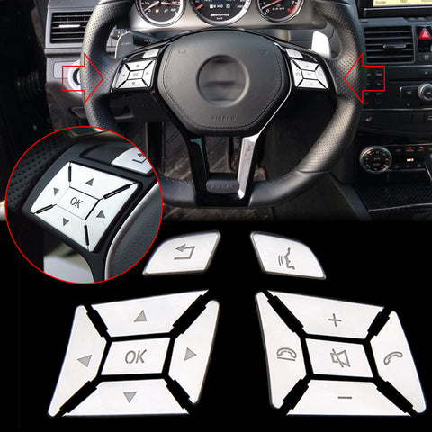 Steering Wheel Button Sticker Silver Trim Cover Cap Decoration for Mercedes Benz E C G Class W204 2012-2016