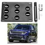 for Jeep Renegade 2015+ Front Bumper Tow Hook License Plate - No Drill Mounting Bracket Adapter Kit