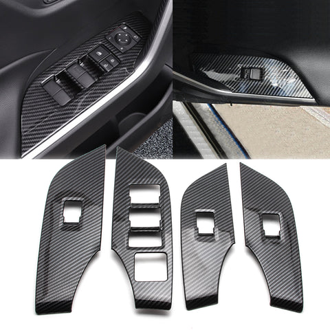 4pcs Door Window Lock Panel Switch Bezel Cover Driver Passenger Side for Toyota RAV4 2019, Carbon Fiber Pattern Window Lift Switch Panel Cover Trim