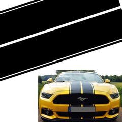 Xotic Tech Double-sided Vinyl Stripe Decal Sporty Sticker for Ford Mustang Hood Roof Rear Trunk Black/ Black with Fluorescent Green Side