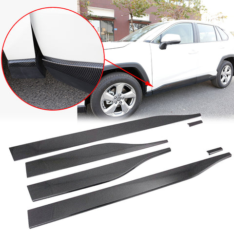 6pcs for Toyota RAV4 2019 2020 Door Sill Cover Trim, Carbon Fiber Style Car Body Door Side Line Molding