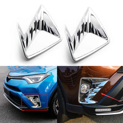 2x ABS Chrome Front Fog Light Frame Cover Molding Trim for Toyota RAV4 2016-2018