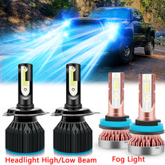 for Toyota Tundra 2014-2019 LED Headlight High Low Beam Fog Light Bulb Combo Package Kit 8000K Ice Blue